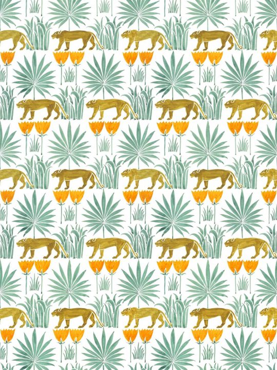 Lioness and Palms Voysey Wallpaper in Midday