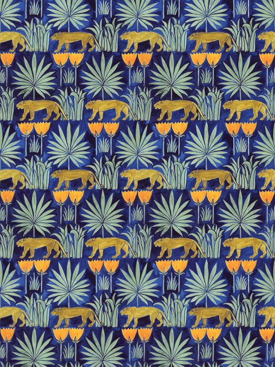 Lioness and Palms Voysey Wallpaper in Midnight