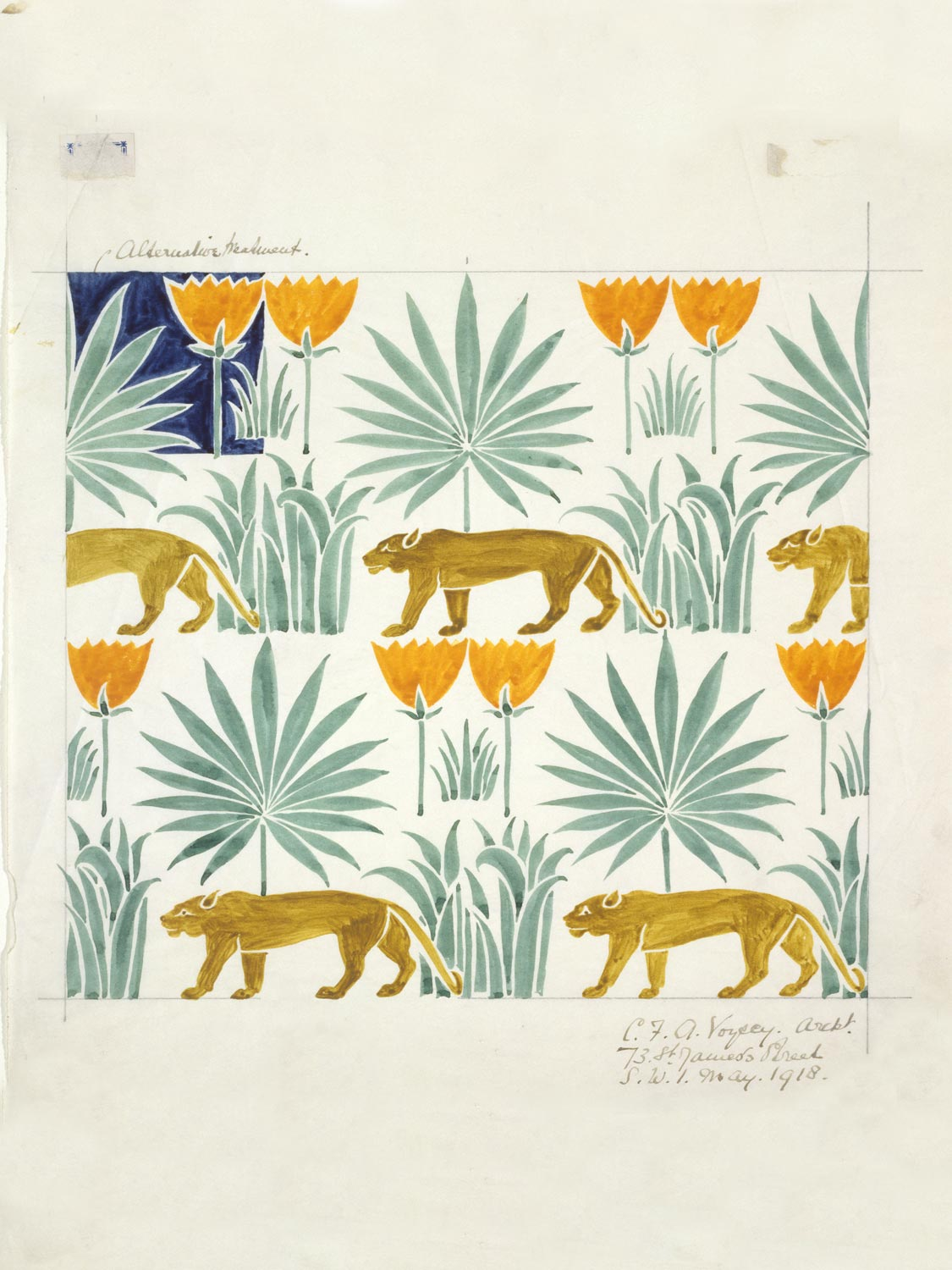 C.F.A. Voysey watercolour for a repeat pattern from the V&A archives