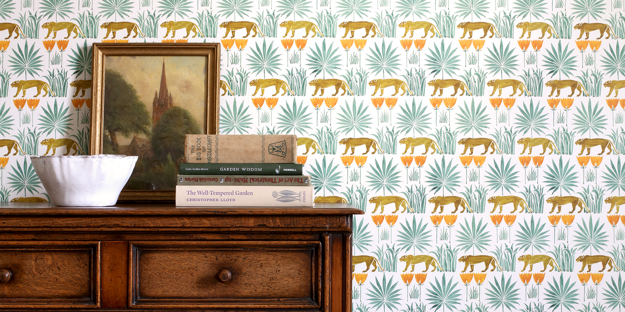 lioness and palms voysey wallpaper
